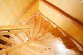 Wooden staircase in a Swedish villa house — Stock Photo