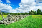 Stone fence separating farm grounds — Stock Photo