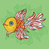 Colorful fish on green background — Stock Vector