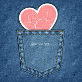 Jeans pocket and heart — Stock Vector