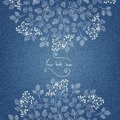 Jeans-Einladungskarte mit ornament — Stockvektor