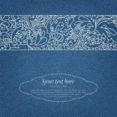 Cartão do convite da sarja de Nimes com ornamento — Vetor de Stock