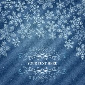Denim background with snowflakes — Stock Vector