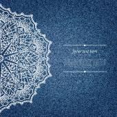Джинсовый открытка с кружевной узор — Cтоковый вектор