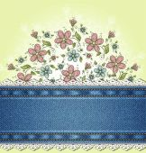 Denim background with ornate floral pattern — Stock Vector