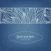Einladungskarte auf Jeans Hintergrund mit ausgezeichneten handgezeichneten ornament — Stockvektor