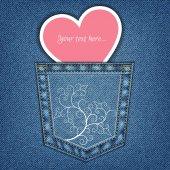 Kieszeni jeansów i serca — Wektor stockowy