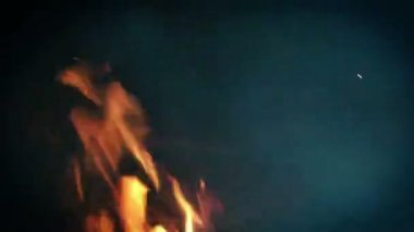 Open fire in fireplace — ストックビデオ
