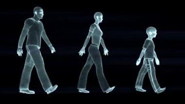 Силуэты семьи ходьбы — Стоковое видео