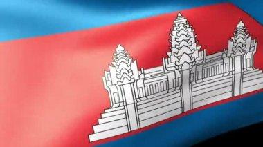Cambodian flag waving — Stock Video