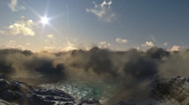 Flight above snowy mountains — Stock Video