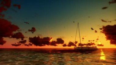 海の夕暮れヨットします。 — ストックビデオ