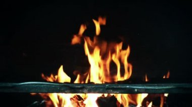 Barbeque fire close up — Stok video
