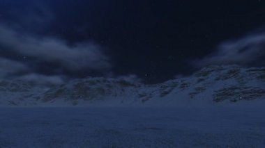 Snowy mountains and moon — Stock Video