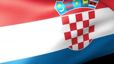 Bandeira croata acenando — Vídeo stock