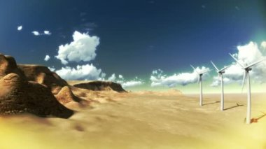 Desert with clouds and windmills — Stock Video