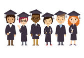 University graduation students with diplomas — Stock Vector