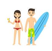 Cute cartoon couple on beach — Stockvector