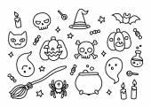 Halloween ručně kreslenou doodle sada — Stock vektor