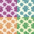 Petals of flowers set of 4 colored vector seamless geometric patterns on the background — Stock Vector #78696966