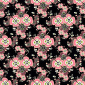 Pink flowers on a black background seamless pattern — Stock Vector