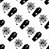 Monochrome coffins and cobweb on white background seamless pattern vector illustration — Stock Vector