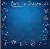 Fond de fournitures scolaires — Vecteur