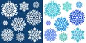 White and blue snowflakes — Stock Vector