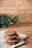 Fundo de cookies de chocolate — Fotografia Stock