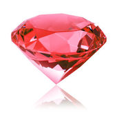 Isolated red diamond (ruby) — Stock Photo