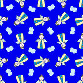 漫画天使の上に青色の背景とのシームレスなパターン — ストックベクタ