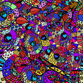 Zentangle colorful seamless pattern — Stock Vector