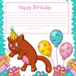 Happy Birthday card with cat — Stock Vector #74501989