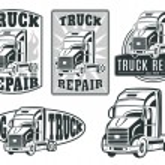 Set of transport, truck logos — Stock Vector #74504491