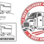 Set of transport, truck logos — Stock Vector #74504575