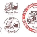 Set of transport, truck logos — Stock Vector #74504591