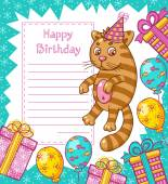 Happy Birthday card with cat — Stock Vector