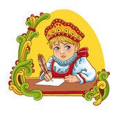 Tecknad rysk flicka — Stockvektor