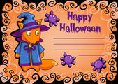 Karte mit Cartoon Halloween monster — Stockvektor