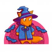 Cartoon Halloween fox — Stock Vector