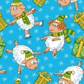 Noel koyun desen — Stok Vektör