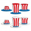Usa set hat (uncle sam top hat, top hat for independence day) — Stock Vector #75087547