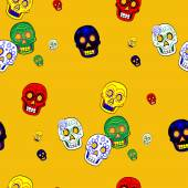 Colorful Mexican Day of the Dead Seamless Pattern Dia de Los Muertos Festival — Stockvector