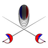 Team France. Sports fencing protective mask  with the image of a flag of France and a sword to attack. The symbol for fencing of  France. — Stock Vector