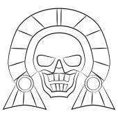 Black and white Mask Aztec ancestors of Mexico on a white background — Stock Vector