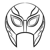 Black and white Mexican wrestling masks on a white background — Vettoriale Stock