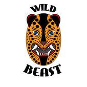Mask logo wild beast of the Aztecs of ancient Mexico — Stock Vector