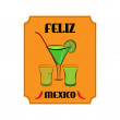 Mexico poster with alcohol drinks in glasses and red pepper on orange background — Stock Vector #78477068