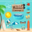 Set of realistic summer icons and objects. Vector illustration — Stock Vector #76678713
