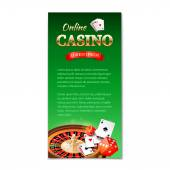 Casino background. Vertical banner, flyer, brochure on a casino theme with roulette wheel, game cards and dice. Vector illustration  — Stock Vector